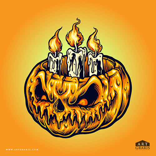 Halloween Pumpkins Candle light for merchandise and publication poster