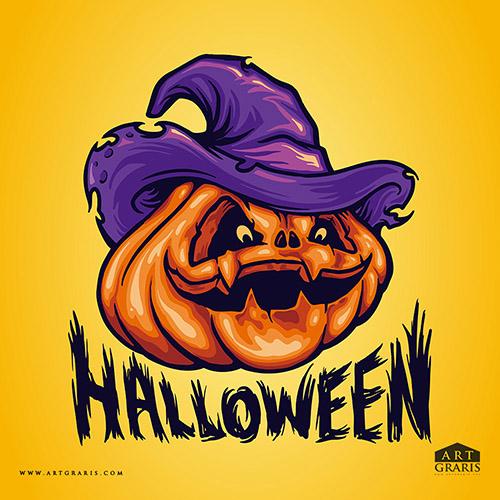 Halloween Pumpkins with Hat Illustrations