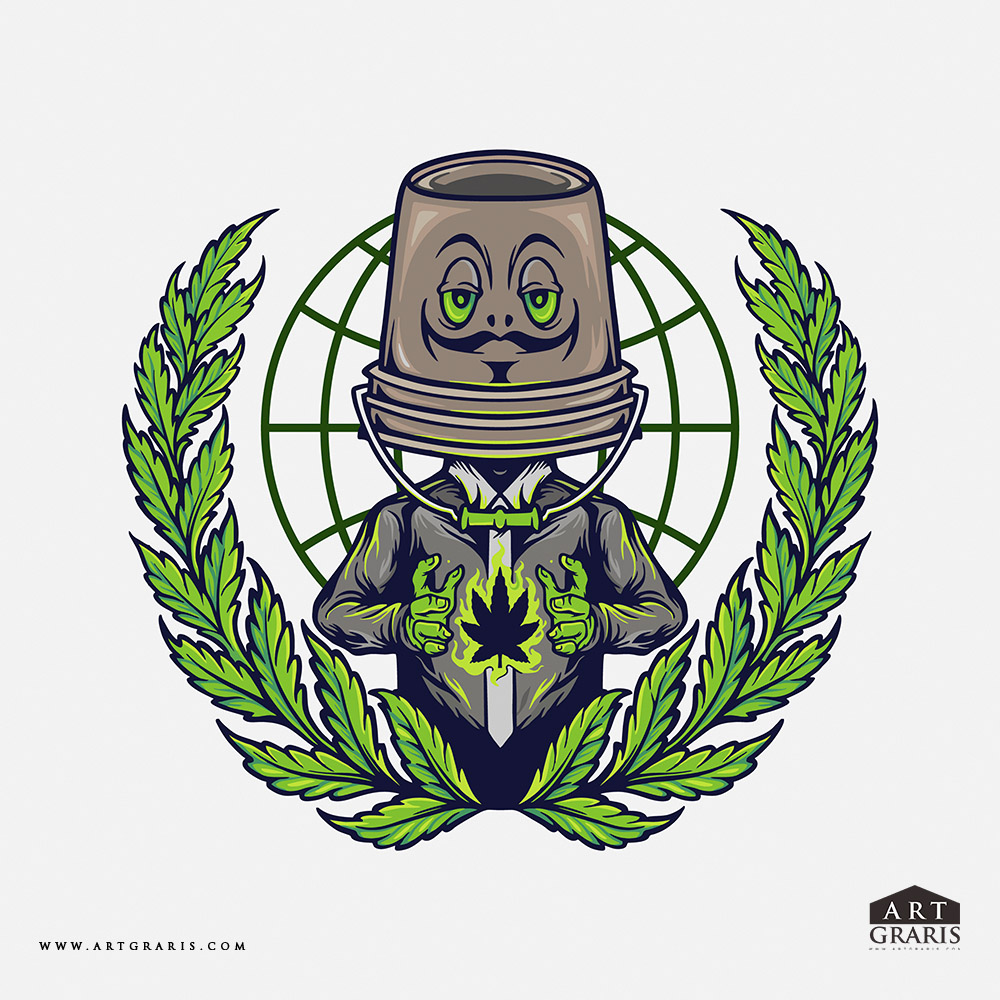 Cannabis Mascot Logo Weed Design Illustrations
