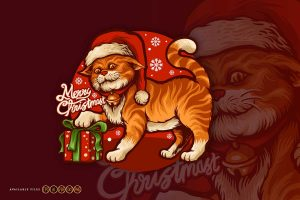 Cartoon-Cute-cat-Merry-Christmas-with-Gift