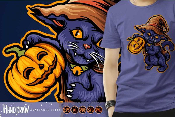 Cat Halloween Scary Pumpkins witch Zombie Illustrations