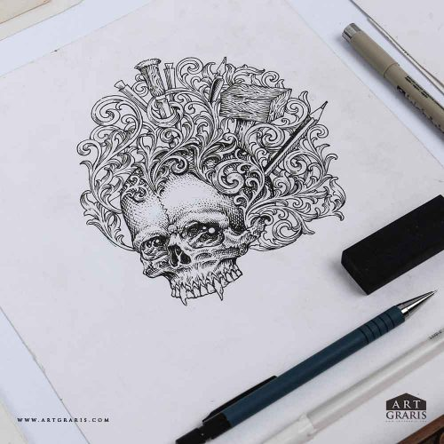 Craftmanship Ornaments Skull Hand Drawn Quality Illustrations Artgraris