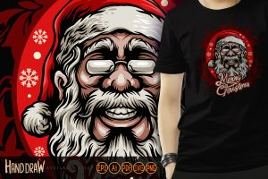 Head Santa Claus Clothing Tees Illustrations Vector Quality.