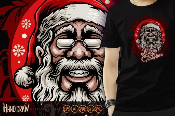 Head Santa Claus Clothing Tees Illustrations Vector Quality.