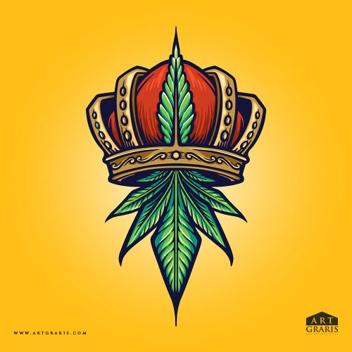 King Cannabis Logo Weed Illustrations