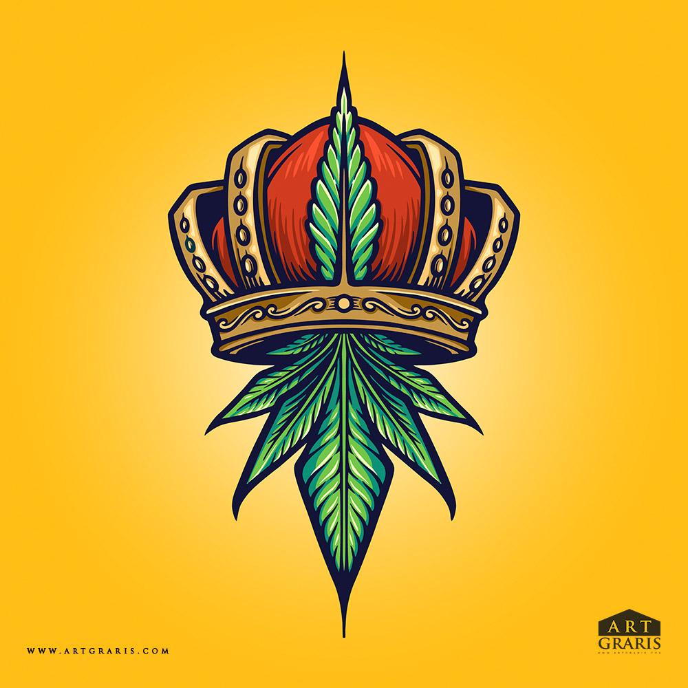 King Cannabis Logo Weed Illustrations