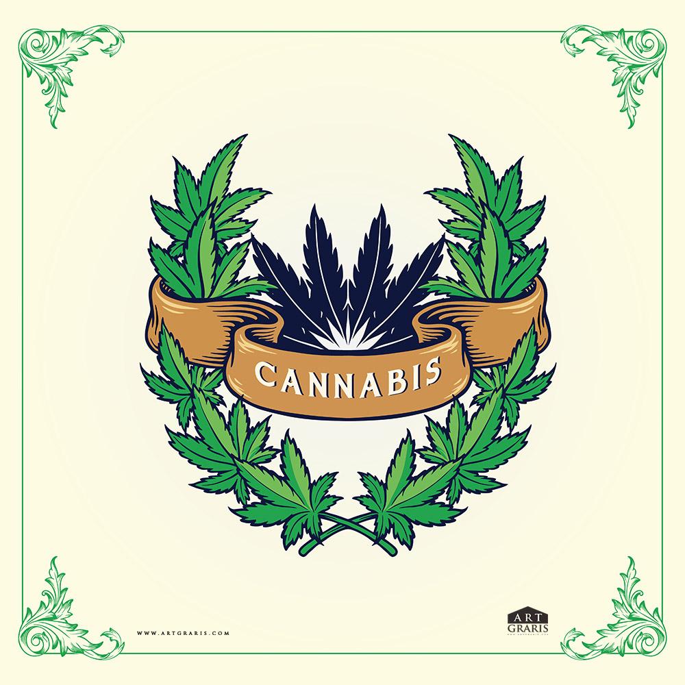 Marijuana leaves frame With Cannabis Ribbon