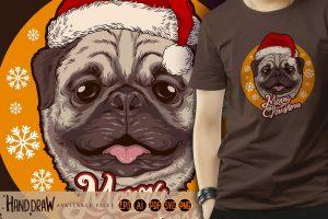 Santa-Claus-Cute-Dog-Cartoon-Wearing-Hat-Illustrations