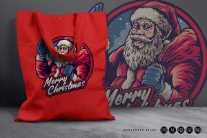 Santa-Claus-Merry-Christmas-with-bag-Artwork-Illustrations-Bag-Artgraris