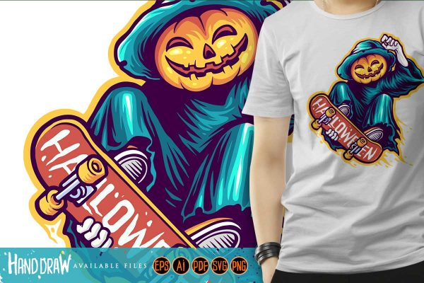 Skeleton Skateboards Halloween Scary Illustrations