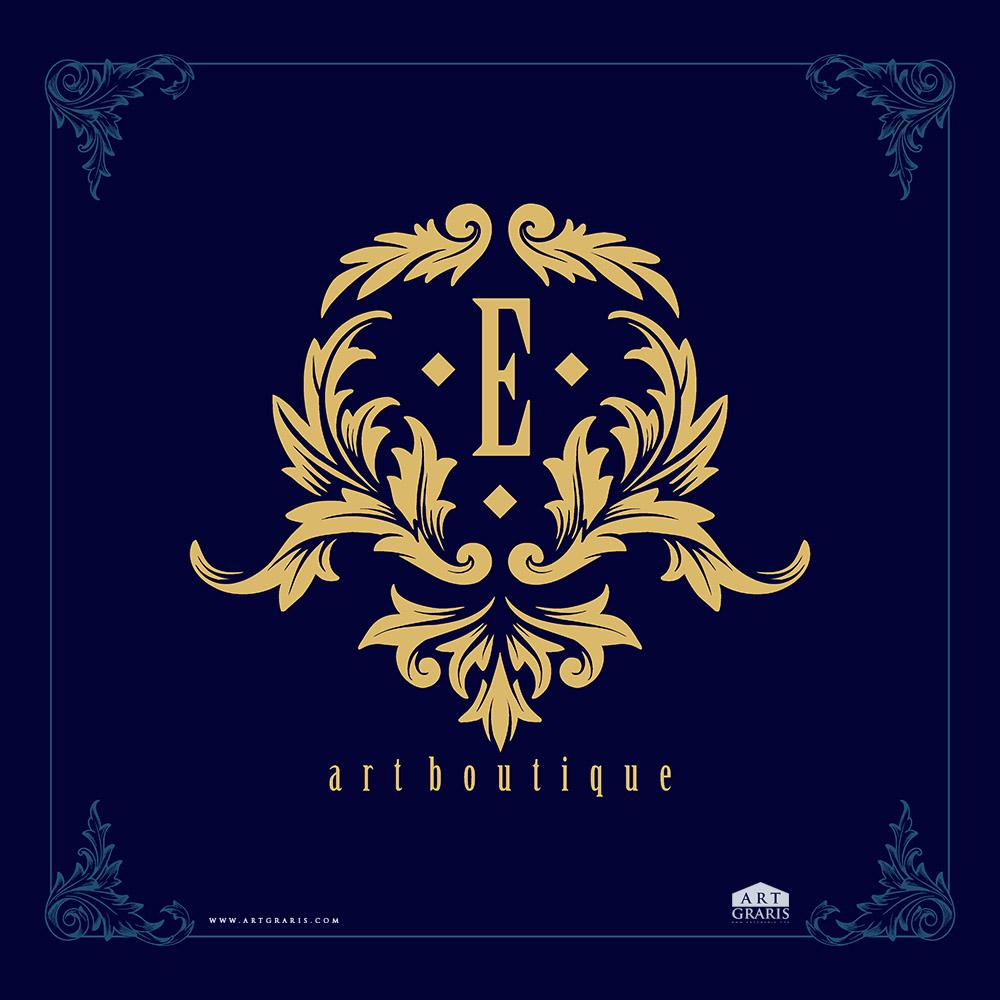 Vintage luxury e letter golden frame elegant art boutique Premium Vector