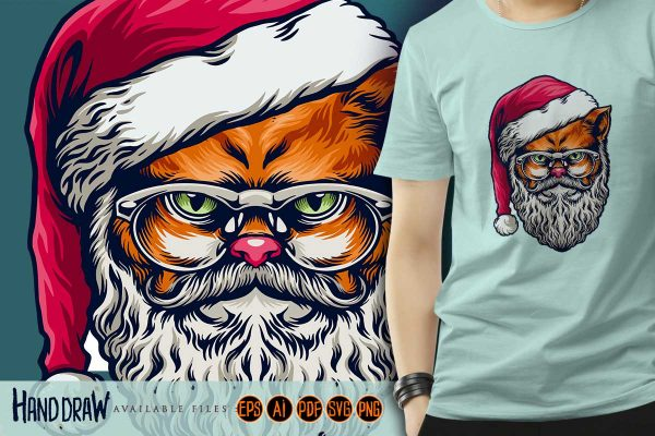 Wild-Cat-Merry-Christmas-with-glasses-Illustrations-T-shirt-Design-Artgraris-