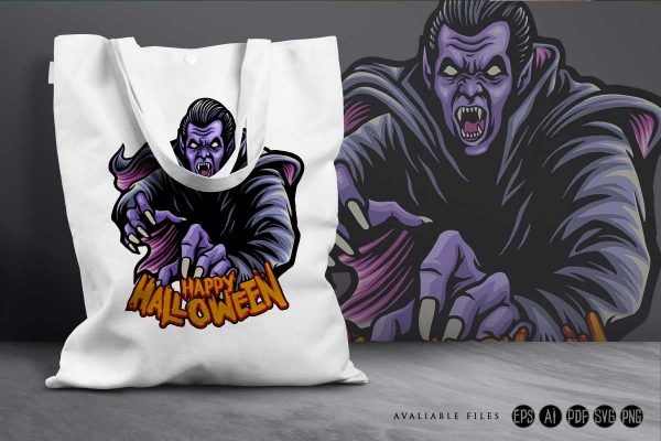 Zombie Dracula witchcraft Happy Halloween Tote bagIllustrations