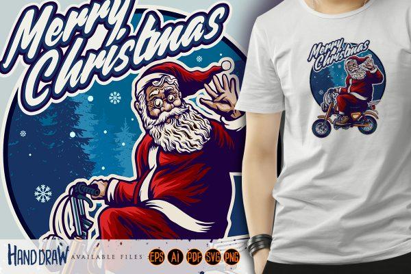 santa claus riding motorcycle T-shirts